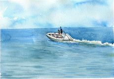 Vattenfärghav med fartyget royaltyfri illustrationer