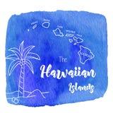 Vattenfärghawaiibo, tropisk grafisk design Arkivfoton