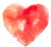 Vattenfärghjärta. Begrepp - förälskelse, förhållande, Arkivbilder