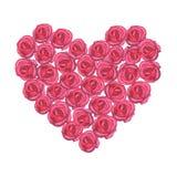 Vattenfärghjärta med rosa rosor på vit backgroun Arkivbild