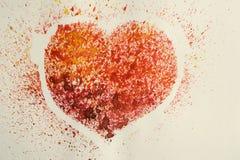 Vattenfärghjärta, stiliserad gammal vykort Fotografering för Bildbyråer