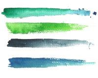 Vattenfärghorisontaltitelbaner för din design, rörelseediti Arkivbilder