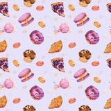 Vattenfärgillustration av bakelser och sötsaker vektor illustrationer