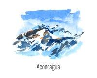 Vattenfärgillustration av berget stock illustrationer