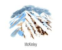 Vattenfärgillustration av berget royaltyfri illustrationer