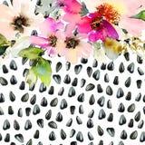 Vattenfärgillustration av den blom- sömlösa modellen Royaltyfria Foton