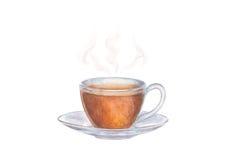 Vattenfärgillustration av den glass kopp te med ånga Arkivbild