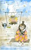 Vattenfärgillustration av den gulliga flickahandelsresanden Arkivfoto
