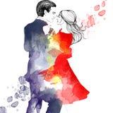 Vattenfärgillustration av den romantiska dansen för par Royaltyfri Fotografi