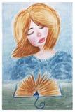 Vattenfärgillustration av en flicka som läser en bok Arkivfoton