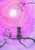 Vattenfärgillustration av en katt på ett träd Arkivbild
