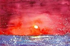 Vattenfärgillustration av en ljus röd solnedgång över sjön I förgrunden som flyger vitt ludd stock illustrationer