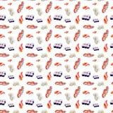 Vattenfärgillustration av en uppsättning av sushi och rullar bakgrund isolerad white seamless modell vektor illustrationer