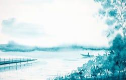 Vattenfärgillustration av ett lantligt landskap på flodbanken Fiskarelåsfisk från ett fartyg vektor illustrationer