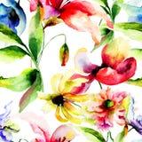 Vattenfärgillustration av färgrika blommor Arkivbilder