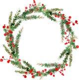 Vattenfärgillustration av kransen för glad jul, röda bär och gröna trädfilialer stock illustrationer