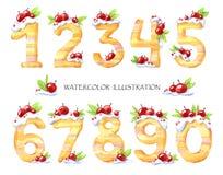 Vattenfärgillustration av nummer från noll till nio Söta smakliga matematiska symboler Uppsättning av den dekorativa kakan med royaltyfri illustrationer