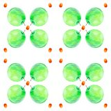 Vattenfärgillustration av nya äpplen och persikor som isoleras på en vit bakgrund seamless modell vektor illustrationer