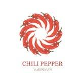 Vattenfärgillustration av peppar för röd chili Arkivfoto