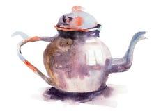 Vattenfärgillustration av teapoten Fotografering för Bildbyråer