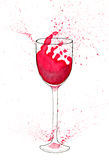 Vattenfärgillustration av vinexponeringsglas med rött vin och färgstänk Royaltyfria Bilder