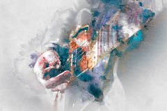 Vattenfärgillustration för elektrisk gitarr Fotografering för Bildbyråer
