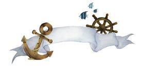 Vattenfärgillustration med bandet för text och nautiskt Ankar-, styrninghjul och fiskar stock illustrationer