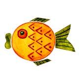 Vattenfärgillustration med bilden av tecknad filmtecken - fisk För designen av tryck böcker, bakgrunder, kort, tyger royaltyfri illustrationer
