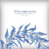 Vattenfärgillustration med blåa sidor Royaltyfria Bilder