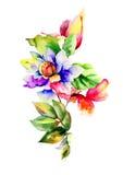 Vattenfärgillustration med blommor Royaltyfri Fotografi