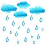 Vattenfärgillustration med cluods och regndroppar Royaltyfri Fotografi