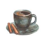 Vattenfärgillustration med den blåa och bruna koppen för porslin Royaltyfri Fotografi