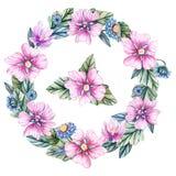 Vattenfärgillustration med den blom- kransen vektor illustrationer