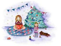 Vattenfärgillustration om familjtebjudningen i December nära julgranen vektor illustrationer