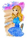 Vattenfärgillustration om nätt blond flicka i den blåa klänningen som spelar pianot på den färgrika bakgrunden vektor illustrationer