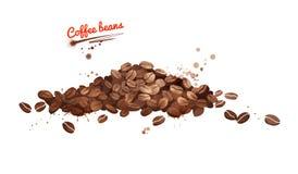 Vattenfärgillustrationen av kaffebönor traver stock illustrationer