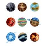 Vattenfärgillustrationen ställde in av planeter av solsystemet Mercury, Venus Earth, fördärvar, Jupter, Saturn, Uranus Neptun, Pl royaltyfri illustrationer