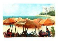 Vattenfärgillustrationkafé på havsstranden med färgrikt isolerat objekt för solparaplyer på vit bakgrund för annonsering royaltyfri illustrationer