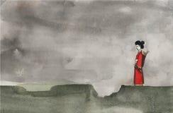 Vattenfärgjapan Royaltyfri Illustrationer