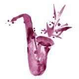 Vattenfärgjazzillustration av den klassiska alt-saxofonen för rödbrunt vin fotografering för bildbyråer