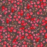 Vattenfärgjulbakgrund av sidor och det röda bäret vektor illustrationer