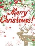 Vattenfärgjulbakgrund Bakgrund för vinterferier Text för glad jul för önska vektor illustrationer