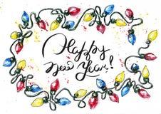 Vattenfärgjulkort av den färgrika girlanden stock illustrationer