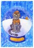 Vattenfärgjulkort med snöleoparden i en hatt och en halsduk stock illustrationer