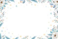 Vattenfärgjulkrans med granfilialer och märkatext Hälsningkort och inbjudningar för nytt år som isoleras på stock illustrationer