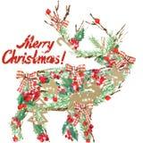 Vattenfärgjulren Text för glad jul för önska stock illustrationer