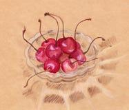 Vattenfärgkörsbäret i det crystal warehantverket skissar Arkivbild