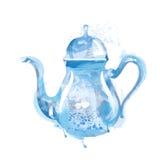 Vattenfärgkokkärl med te Royaltyfri Bild