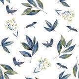 Vattenfärgkonst med skogblommor Sömlöst med kranar, blått lila blad stock illustrationer