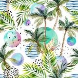 Vattenfärgkonstillustration: palmträd klotter, grungetexturer, geometriska minsta beståndsdelar vektor illustrationer